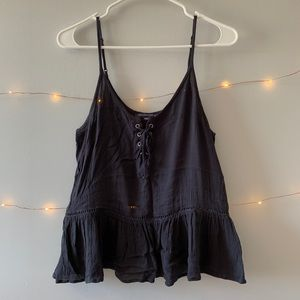 American Eagle Outfitters Peplum Lace Up Tank Top